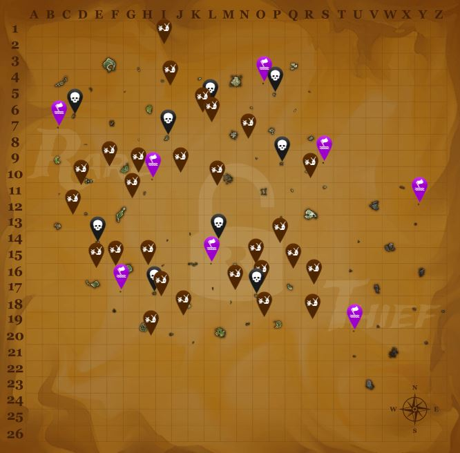 carte animaux sea of thieves Sea of Thieves   Carte et liste des îles, régions et avant postes