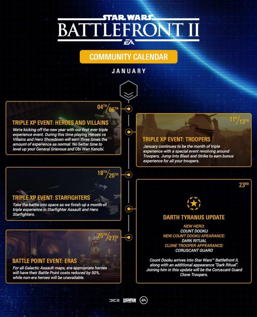 Calendrier Star Wars 2019.Star Wars Battlefront Ii 3 Evenements Triple Xp Et Une