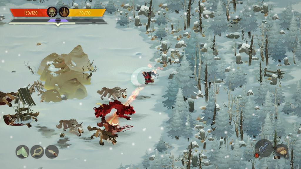Ivan combat des loups dans une forêt enneigée