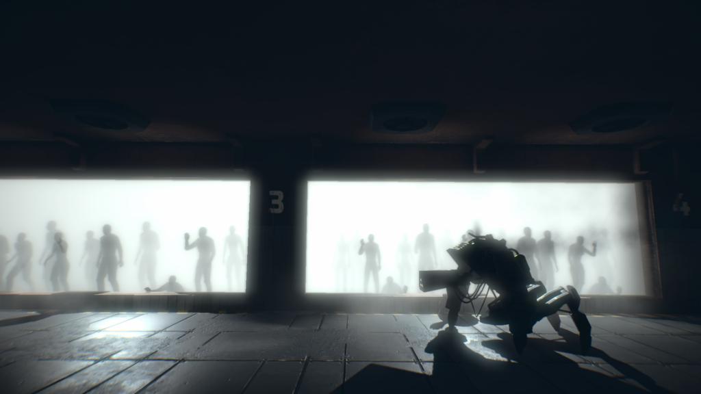 7th Sector - robot faisant face à des prisonniers