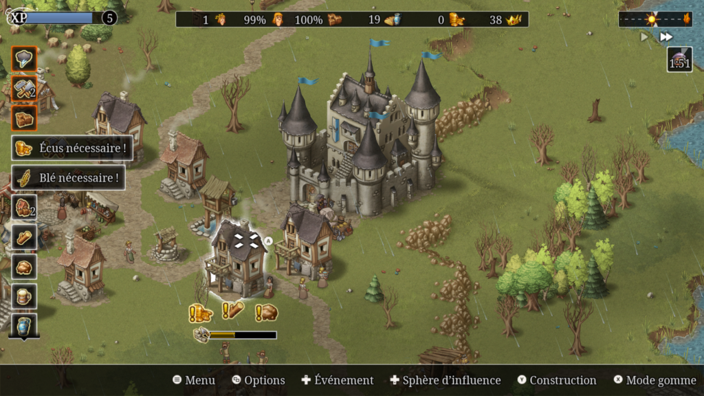 Townsmen - Ecran de jeu montrant un château