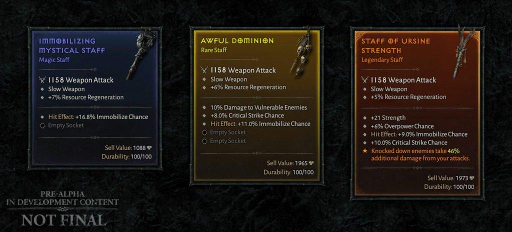 Diablo IV - Affixes armes