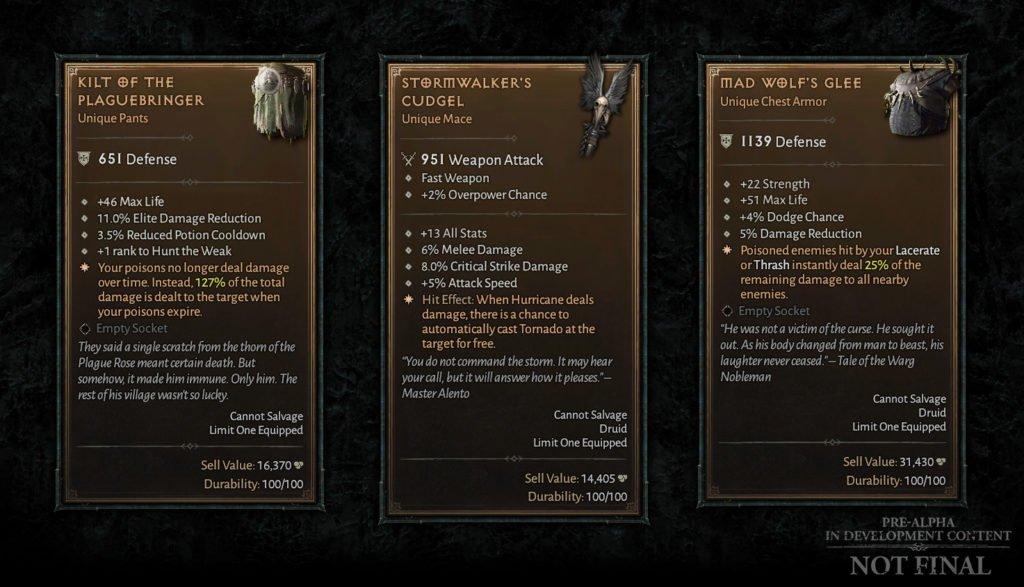 Diablo IV - Objets uniques