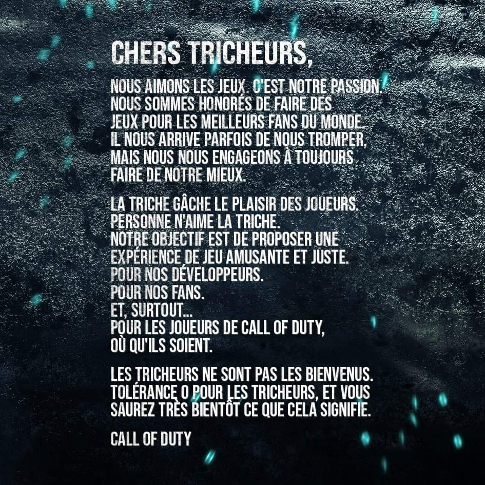 Call of Duty - Message Anti Triche